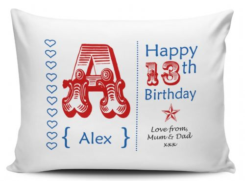 Personalised Any Name & Any Message 13th-60th Birthday Pillow Case - Red